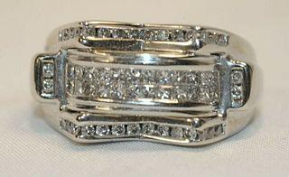 MEN'S CHANNEL SET DIAMOND RING IN SOLID WHITE GOLD - $8K VALUE!