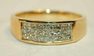MEN'S ILLUSION-SET DIAMOND RING IN SOLID YELLOW GOLD - $8K VALUE!