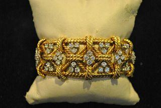 David Webb Style Plat & 18K YG Woven Design Bracelet w/ 8 CT Diamonds- Est $75K!