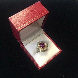 Buccellati Lady's Star Ruby Fancy Yellow Diamonds 18K YG Ring! w/COA APR $57K!!