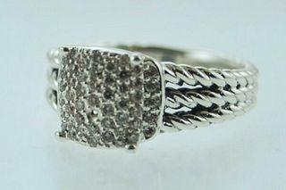David Yurman Lady's Silver Ring with Diamonds Petite Wheaton $2K VALUE