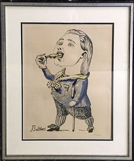 Balthus Man Eating a Cigarette Print France Signed 1959 LTD ED w/COA App.$3K