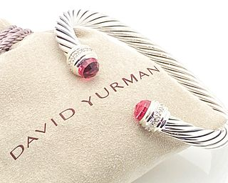 DAVID YURMAN  PINK TOURMALINE DIAMOND 925 CABLE