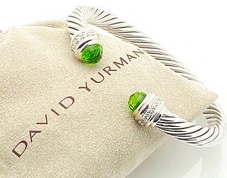 DAVID YURMAN PRASIOLITE DIAMOND SILVER CABLE BRACELET
