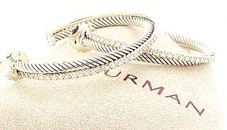DAVID YURMAN  925 DIAMOND CROSSOVER EXTRA LARGE HOOP