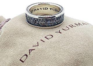 DAVID YURMAN 925 DIAMOND STREAMLINE PAVE THREE ROW BAND