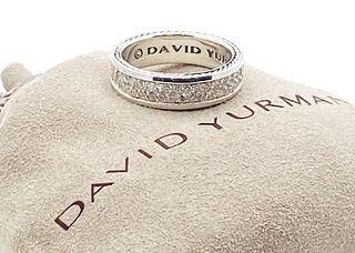 DAVID YURMAN  DIAMOND SILVER 925 STREAMLINE PAVE BAND