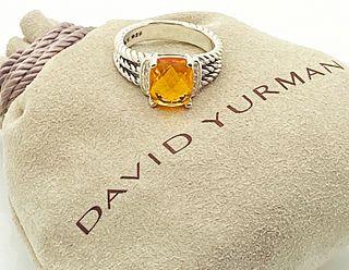 DAVID YURMAN  CITRINE DIAMOND PETITE WHEATON RING