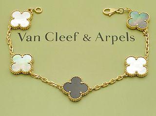 VAN CLEEF & ARPELS 18K ALHAMBRA STONE BRACELET