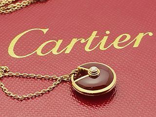 CARTIER 18K CARNELIAN DIAMOND PENDANT NECKLACE