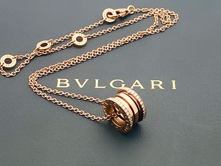BVLGARI 18K ROSE GOLD DIAMOND PENDANT NECKLACE