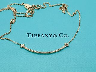 TIFFANY & CO 18K ROSE GOLD DIAMOND PENDANT NECKLACE