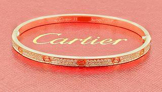 CARTIER  18K ROSE GOLD PAVE DIAMOND LOVE BRACELET