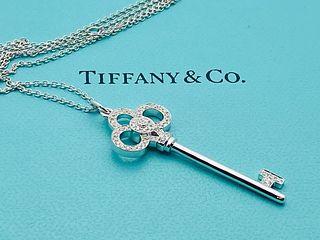 TIFFANY & CO 18K DIAMOND CROWN KEY PENDANT  NECKLACE