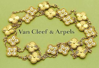 VAN CLEEF & ARPELS 20 MOTIF 18K DIAMOND ALHAMBRA LONG