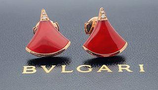 BVLGARI 18K ROSE GOLD CARNELIAN DIAMOND EARRINGS