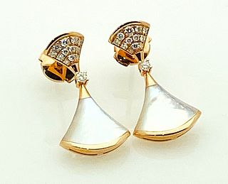 BVLGARI 18K MOTHER OF PEARL DIAMOND EARRINGS
