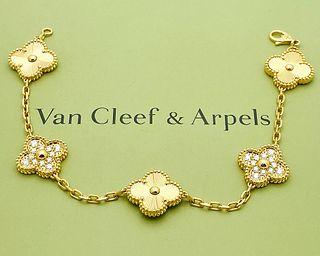 VAN CLEEF & ARPELS  18k GOLD DIAMOND ALHAMBRA BRACELET