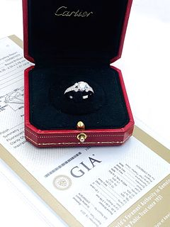 CARTIER 950  1.01CT CENTER DIAMOND ENGAGEMENT RING
