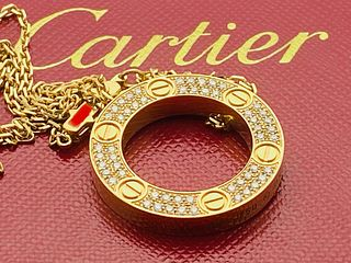 CARTIER 18K YELLOW GOLD DIAMOND PENDANT NECKLACE