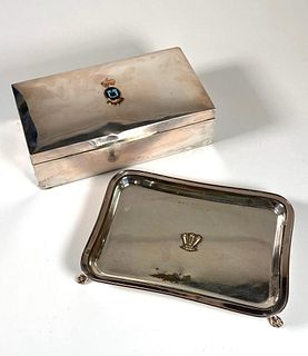 English Sterling Silver Cigarette Box and Plated Card