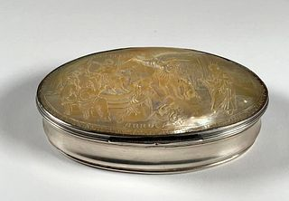 Dutch Carved Mother of Pearl Silver Mounted Box