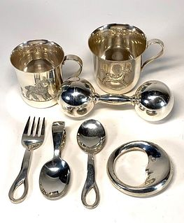 Lot of Tiffany Sterling Silver Baby Items