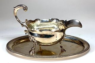 English Silver Sauce Boat and Gorham Silver Tray
