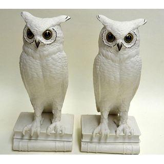 BOEHM PORCELAIN OWL BOOK ENDS, PAIR