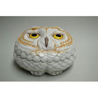 BOEHM PORCELAIN OWL COVERED BOX