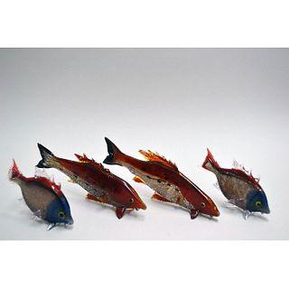 MURANO GLASS TROPICAL FISH FOUR PIECE ASSORTMENT