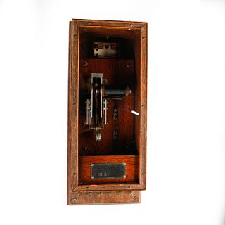 19TH CENTURY KELLOGG TELEPHONE SWITCHER, WOODEN CABINET