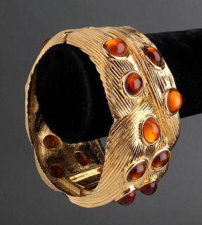 Nina Ricci Gold-Tone & Poured Glass Hinged Bangle