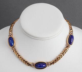 Panetta Vintage Lapis & Gold-Tone Collar Necklace
