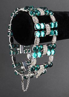 Silver-Tone Faux Gemstone Cuff Bracelet