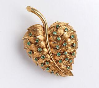 Vintage 18K Yellow Gold & Emerald Leaf Brooch