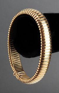 Italian 18K Yellow Gold Wide Omega Bracelet