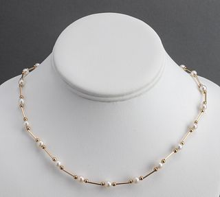 14K Yellow Gold & Pearl Beaded Necklace