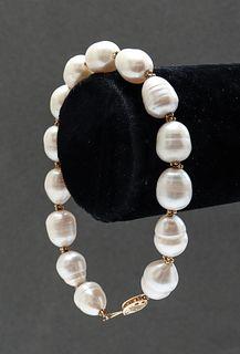 14K Yellow Gold & Pearl Bracelet
