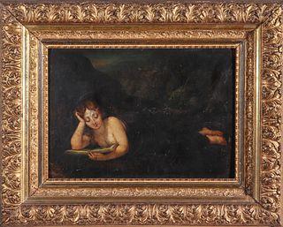 Woman Reading in Dark Landscape Oil on Panel