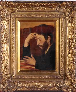 """Lazar Rosenfeld """"Rabbinical Scholar"""" Oil on Canvas"""