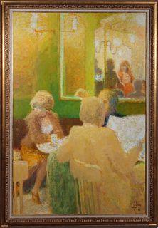"""Louis Fabien """"En Attendant"""" Oil on Canvas"""