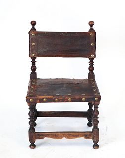 Spanish Baroque Manner Oak & Leather Child's Chair
