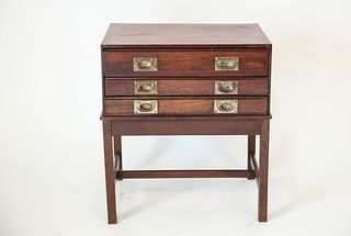 Regency Campaign Brass And Oak Cabinet On Stand