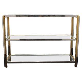 Karl Springer Style Modern Glass Shelf Etagere