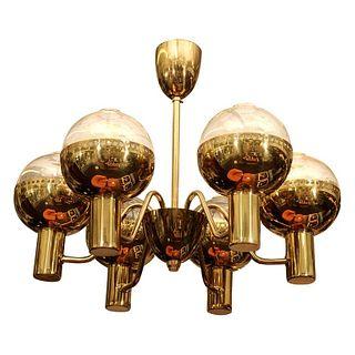 Hans-Agne Jakobsson Swedish Brass Chandelier