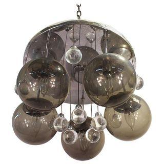 Mid-Century Modern Glass Sphere, Chrome Chandelier