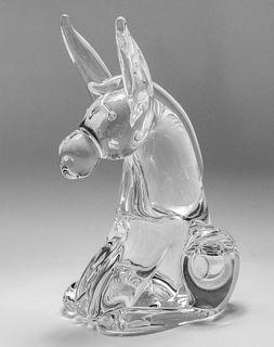 Steuben Large Art Glass Donkey Sculpture