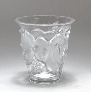 """Lalique France """"Samur"""" Frosted Art Glass Vase"""