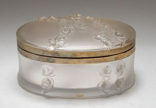 """Lalique """"Coppelia"""" Frosted Art Glass Dresser Box"""